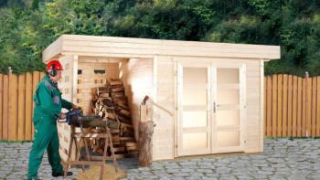 planeo Gartenhaus - Systemhaus Varianta A oder B mit Seitendach/Rückwand oder zusätzlichen Terrassenfußboden