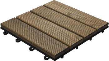 planeo Holz-Terrassenfliese Thermoesche geriffelt 30x30 cm - 6 Stk
