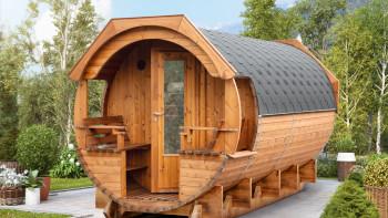 planeo Saunafass Premium Svenja 1 Thermoholz montiert
