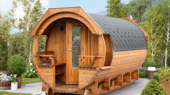 planeo Saunafass Premium Svenja 2 Thermoholz montiert