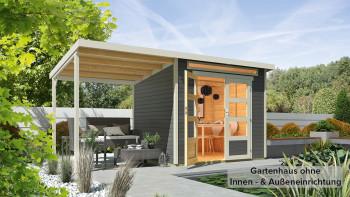 planeo Gartenhaus - Systemhaus Venlo Titangrau mit SD Elfenbeinweiß