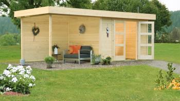 planeo Gartenhaus - Systemhaus Calais mit Anbau und Rückwand