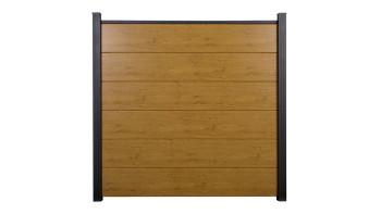 planeo Basic - PVC-Steckzaun Quadratisch Asteiche Natur 180 x 180 cm
