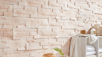 planeo StoneWall Solid Jade - Beige-Rosa