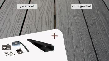 Komplett-Set TITANWOOD Massiv dunkel-grau Antik gealtert