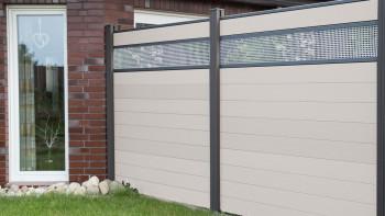 planeo Solid - Gartenzaun Designblende Alu30 BiColor Weiß