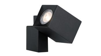 planeo Gartenbeleuchtung 12V - LED-Strahler Quartz Wandleuchte Schwarz Alu - 2W 120Lumen